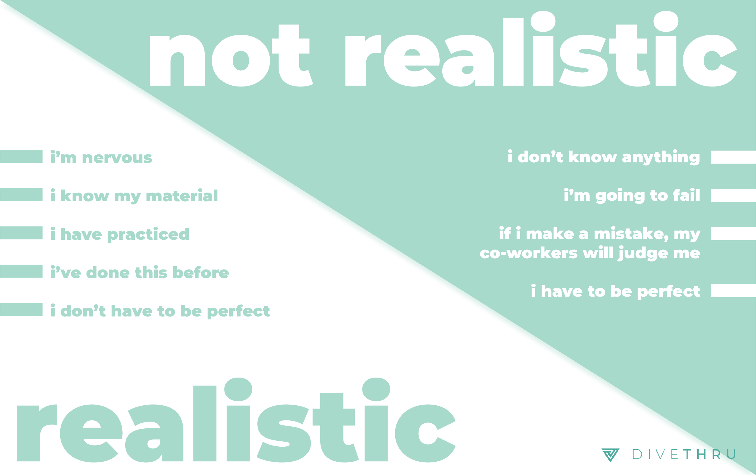"""The image has a table of realistic versus not realistic intruding thoughts. Not realistic thoughts include """"I don't know anything; I'm going to fail; If I make a mistake, my co-workers will judge me; I have to be perfect."""" Realistic thoughts include: """"I'm nervous; I know my material; I have practiced; I've done this before; I don't have to be perfect."""""""